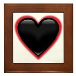 Black Glossy Heart Anti Valentine Framed Tile