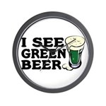 I See Green Beer St Pat's Wall Clock