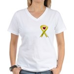 Take Care of my Son Yellow Ribbon Women's V-Neck T