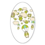 Skydiving Hamsters Oval Sticker
