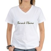 Script Barack Obama Women's V-Neck T-Shirt