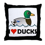 Birdorable I Love Ducks Throw Pillow