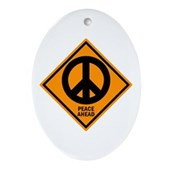 Peace Ahead Oval Ornament