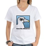 Save the Albatross (close-up) Women's V-Neck T-Shirt