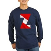 Scuba Flag Letter Z Long Sleeve Dark T-Shirt
