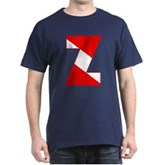 Scuba Flag Letter Z Dark T-Shirt