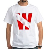Scuba Flag Letter W White T-Shirt