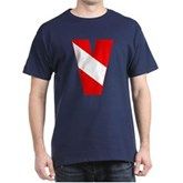 Scuba Flag Letter V Dark T-Shirt