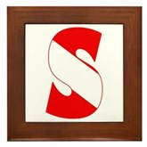 Scuba Flag Letter S Framed Tile