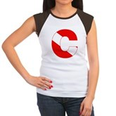 Scuba Flag Letter C Women's Cap Sleeve T-Shirt