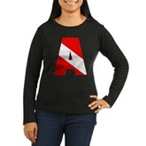 Scuba Flag Letter A Women's Long Sleeve Dark T-Shi