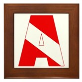 Scuba Flag Letter A Framed Tile