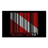 Barcode Dive Flag Rectangle Sticker