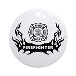 Fire Dept Tattoos Ornament (Round)