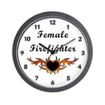 Female Firefighter Wall Clock