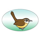 Birdorable Carolina Wren Oval Sticker