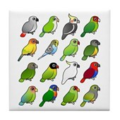 16 Birdorable Parrots Tile Coaster