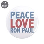 Peace Love Ron Paul 3.5&quot; Button (10 pack)