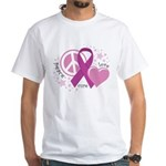 CF Peace Love Cure White T-Shirt