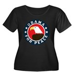 Obama For Peace Women's Plus Size Scoop Neck Dark T-Shirt