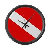 Diver Down Flag Large Wall Clock