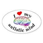I Heart My Autistic Mind Sticker (Oval)