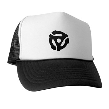 Black 45 RPM Adapter Trucker Hat
