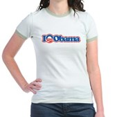 Support Barack Obama for President with this fun design that reads I Love Obama. Instead of a heart or the word love, the Obama logo is shown. This is a great way to show your support for Obama 2008!