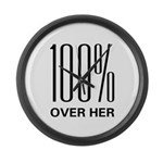 100% Over Her Large Wall Clock