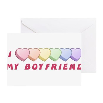 I (Hearts) MY BOYFRIEND Greeting Card