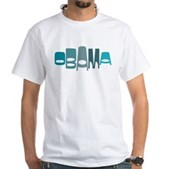 This retro-look design in cool shades of blue text reads Obama in a funky stylish font in an oval shape. This is a great, unique design for anyone that supports our 44th American President - Obama.