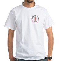 With God Cross Breast Cancer White T-Shirt