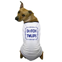 Dutch Tulips Delft Blue Style Dog T-Shirt