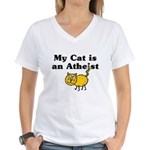 My Cat Is An Atheist Women's V-Neck T-Shirt