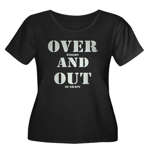 Over & Out Women's Plus Size Scoop Neck Dark T-Shi
