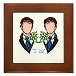 Gay Wedding Grooms Framed Tile
