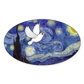 Starry Dove Oval Sticker