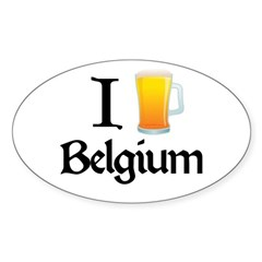 I Love Belgium (Beer) Sticker (Oval)