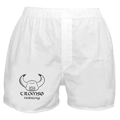 Tromso Norway Viking Hat (B&W) Boxer Shorts