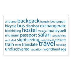 Travel Tag Cloud Sticker (Rectangle)