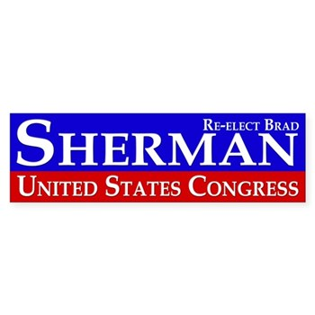 Re-Elect Progressive Brad Sherman to Congress (pro-Sherman bumper sticker)