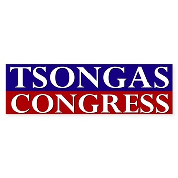 Vote Niki Tsongas for U.S. Congress, working hard for you in Washington, DC (pro-Tsongas bumper sticker)