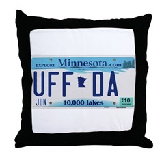Uffda License Plate Shop Throw Pillow