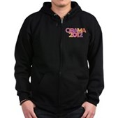 Obama Flowers 2012 Zip Hoodie (dark)