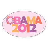 Obama Flowers 2012 Sticker (Oval)