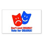 Vote Obama: No Drama! Sticker (Rectangle)