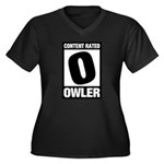 Content Rated Owler Women's Plus Size V-Neck Dark T-Shirt