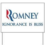 An anti-Romney spoof design w/ a slogan the candidate should use: Ignorance is Bliss. Are you stupid? Then Mitt Romney's your man!