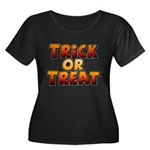 Trick or Treat Women's Plus Size Scoop Neck Dark T-Shirt