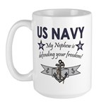 My Nephew is defending - Navy Large Mug